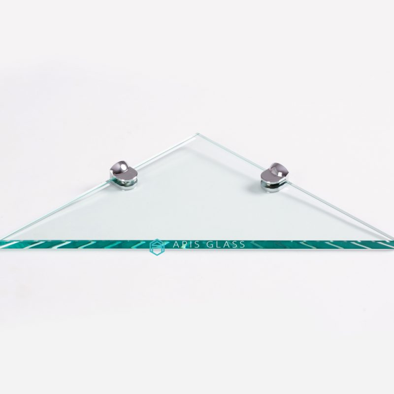 China Triangle Clear Tempered Decorative Shower Corner Glass Shelves with Hardware Wholesale