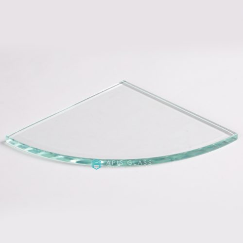 China Quarter Circle Clear Tempered Glass Corner Shelves with Chrome Supports Wholesale