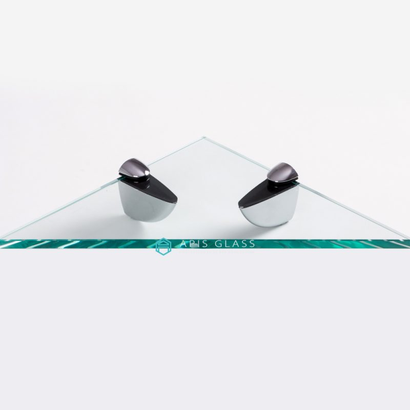 China 3/8″ Thickness Clear Toughened Triangle Bathroom Corner Glass Shelves Wholesale
