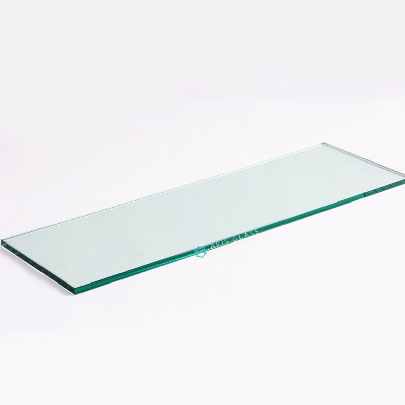 China Clear 3/8″ Thickness Tempered Rectangle Glass Wall Shelves with Chrome Brackets Wholesale