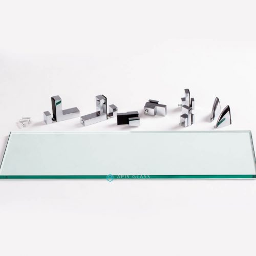 China Clear Tempered Rectangle Kitchen Glass Wall Shelves with Chrome Hardware Wholesale