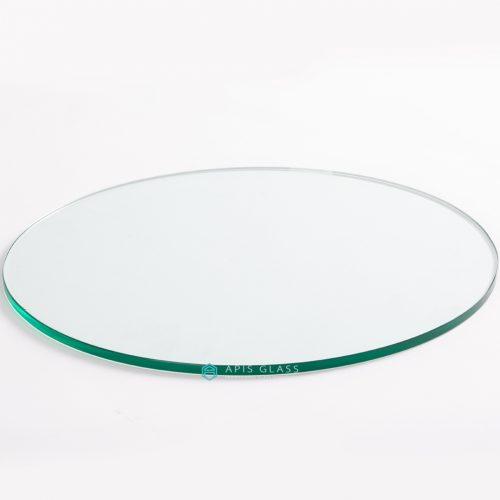 China Round Flat Polished Edge Safety Glass Dining Table Wholesale