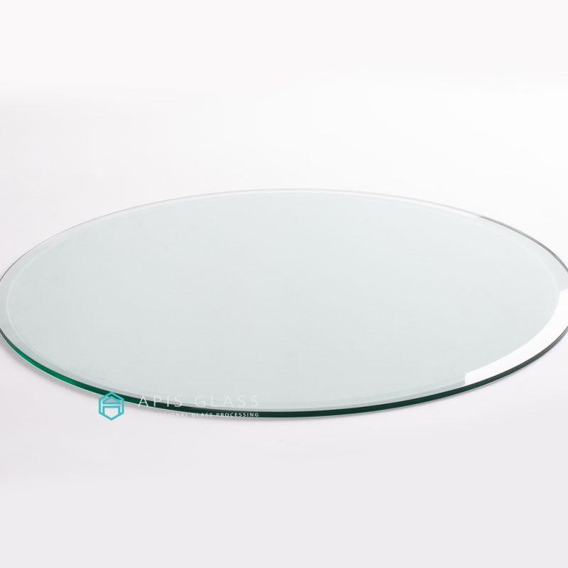 China Clear  Round Beveled Polished Edge Tempered Glass KitchenTable Wholesale